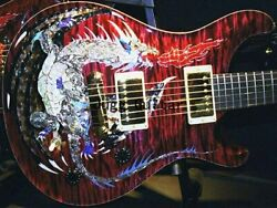 Dragon Red Flame Maple Top Electric Guitar Abalone Birds Inlay Eagle Headstock