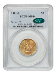 1901-s 5 Pcgs/cac Ms64 - Liberty Half Eagle - Gold Coin