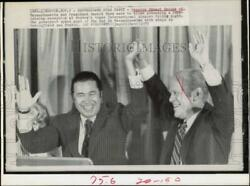 1975 Press Photo Edward Brooke And President Ford Wave To Boston Airport Crowd.
