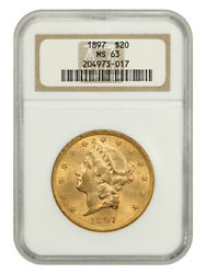 1897 20 Ngc Ms63 - Liberty Double Eagle - Gold Coin