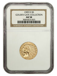 1909-d 5 Ngc Au58 - Great Type Coin - Indian Half Eagle - Gold Coin