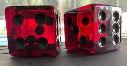 Vintage Lucite Giant Large Dice Burgundy Red Acrylic 3.75 Inches