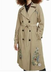 New Size 842l Desigual Lightweight Embroidered Slim Trench Coat 21andrdquo X 42andrdquo