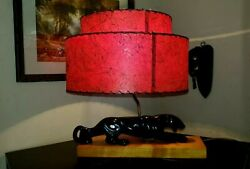 Mid Century Atomic Age Panther Vintage Lamp W Red 2 Tier Fiberglass Shade 1950s