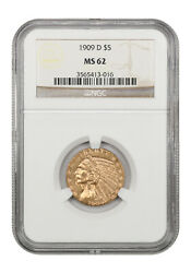 1909-d 5 Ngc Ms62 - Great Type Coin - Indian Half Eagle - Gold Coin