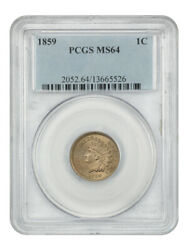 1859 1c Pcgs Ms64 - Popular 1-year Type Coin - Indian Cent