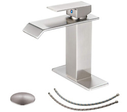 Bwe Waterfall Bathroom Faucet Brushed Nickel With Pop Up Drain Stopper Overflow