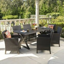 Blair Outdoor 7-piece Aluminum Wicker Dining Set With Brown 7-piece Sets