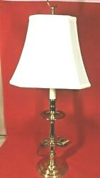 Williamsburg Style Baldwin Brass Cathedral Candlestick Lamp With Shade - 28
