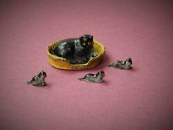 Barrett And Son London Vintage Lead Farm Series Cat In Basket And Three Rare Kittens