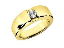 Genuine 0.75ct Round Solitaire Mens Bridal Ring 18k Yellow Gold H Si2 Channel