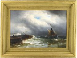 Fishing Boats Antique Marine Oil Painting By Gustave De Breanski C.1856-1898