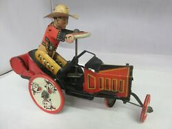 Vintage Cowboy Wind Up Whoopee Car Marx Tin Toy Works  E-887-f