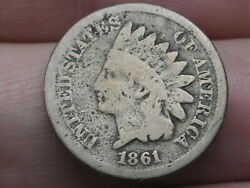 1861 Copper Nickel Indian Head Cent Penny- Good/vg Details