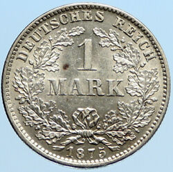1875 Germany King Wilhelm I And Wreath Vintage Antique Silver 1 Mark Coin I96904
