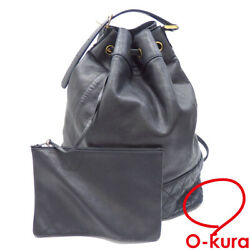 Secondhand Backpack Women And039s Black Lambskin Razor Old Drawstring Day Pack