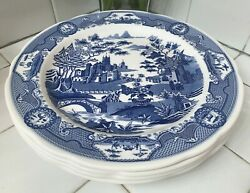 4x The Spode Blue Room Collection Gothic Castle Dinner Plates England Set Of 4