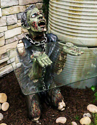 Begging Chained Slave Walking Undead Zombie Side Table With Glass 22.5h Decor