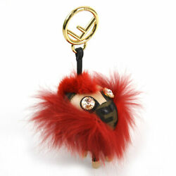 Fendi Key Chain Charm Space Monkey Brown Red Gold Fittings Canvas Leather Fur