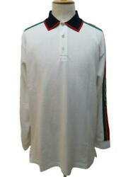 Long Sleeve Polo Shirt Mens Xxl White Red Green Cotton 432 Secondhand