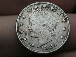 1884 Liberty Head V Nickel 5 Cent Piece- Xf Details