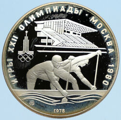 1978 Moscow 1980 Russia Olympics Vintage Rowing Crew Proof Silver 10 Coin I96323