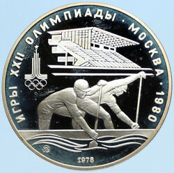 1978 Moscow 1980 Russia Olympics Vintage Rowing Crew Proof Silver 10 Coin I96291
