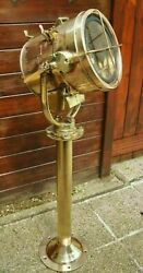 Vintage Old Antique Marine Ship Brass Nautical Signal Spot Light With Stand 35kg