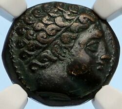 Macedonia Of Philip Ii Ancient Old Greek Coin Apollo Olympic Horse Ngc I95641