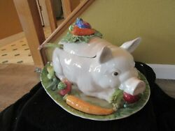 Rare French Market Fitz And Floyd French Market Pig Soup Tureen