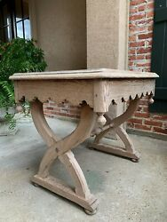 Antique English Bleached Sofa Side Table Pitch Pine Gothic Sabre Leg Stripped