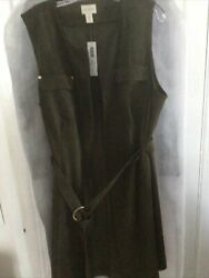 Chicos Olive Faux Suede Vest /dress Size 3 Or 16/18 Nwt
