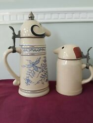 Vtg Schultz And Dooley Beer Stein Webco Made In Germany Utica Club Pottery Lids