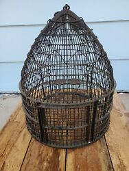Vintage Well-made Black Iron Victorian Bee Hive Deco Bird House W/ Swing Macabe