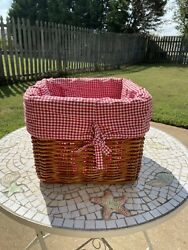 Pottery Barn Kids Large 12x12 Square Tan Sabrina Basket With Red Gingham Liner