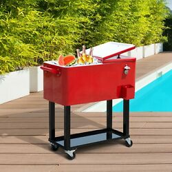 80 Quart Rolling Portable Indoor / Outdoor Party Cooler Ice Chest Beverage Cart
