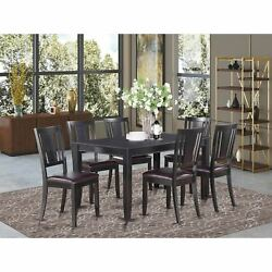 Kitchen Room Set - Dining Table And 6 Kitchen Chairs - Black Black Dule7-blk-lc