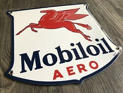 Porcelain Sign Mobiloil 12in Gas And Oil
