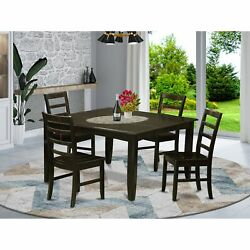 East West Furniture Dining Table And 4 Kitchen Chairs In Wood Seat Parf5-cap-w