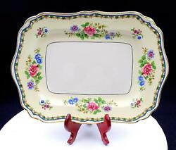 Jandg Meakin Sol England Blue And Pink Floral Rectangular 12 1/4 Handled Tray