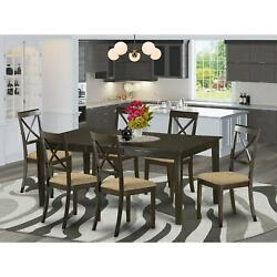 Wooden Dining Table And 6 Dinette Chairs In Cappuccino