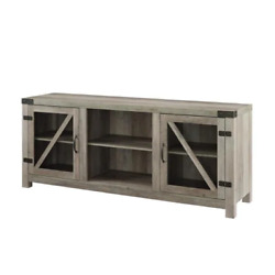 58 In. Grey Wash Wood And Glass Barn Door Farmhouse Tv Stand Fits Tvs Up To 65 I