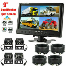 9 Quad Split Monitor +4x Rear View Backup Camera For Truck Tractor Farm Vehicle