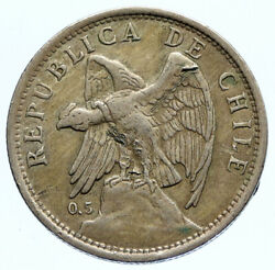 1924 Chile Condor Bird Antique Old Large Silver South American Peso Coin I96744