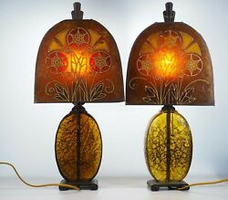 Pair Of Original Art Deco, Mica Shade And Crackle Glass Table Lamps