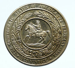 1960's Usa Confederate States And Horse Old Vintage Fantasy Silver Medal I96445
