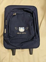 Vintage Sanrio 2001 Hello Kitty Blue Angel Rolling Suitcase Luggage