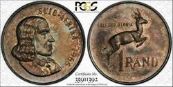 1966 South Africa Rand Afrikaans Bu Pcgs Ms65 Toned Pop 5 Only 1 Higher
