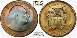 1972 Jamaica Silver Dollar Pcgs Ms67 Colorfully Toned Coin Trueview