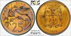1974 Jamaica 25 Cents Pcgs Ms65 Color Toned Gem Very Nice Coin